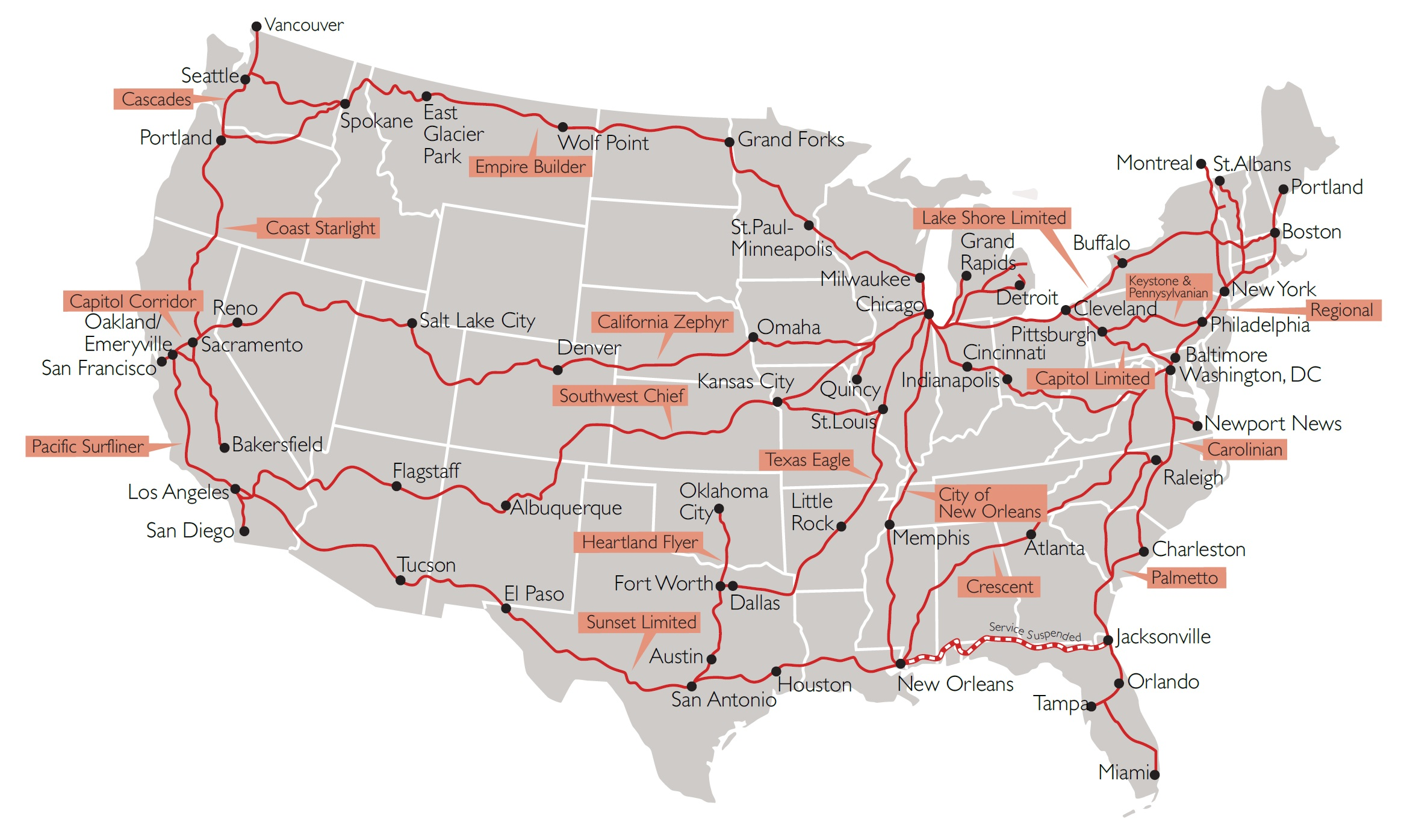 Rail Holidays - Usa maps route planner